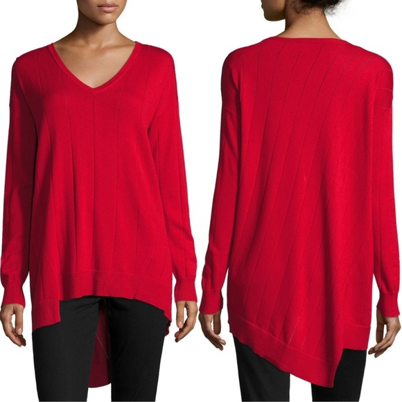 c43747430 Vince Camuto Drop Stitch V-Neck Sweater Red NWT